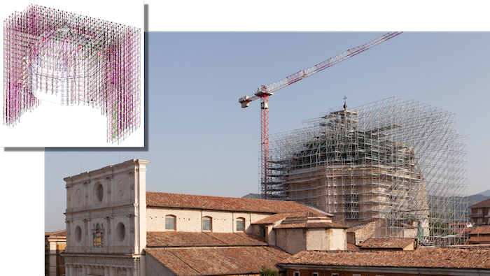 Andamio Restauración Basilica S. Bernardino Italia