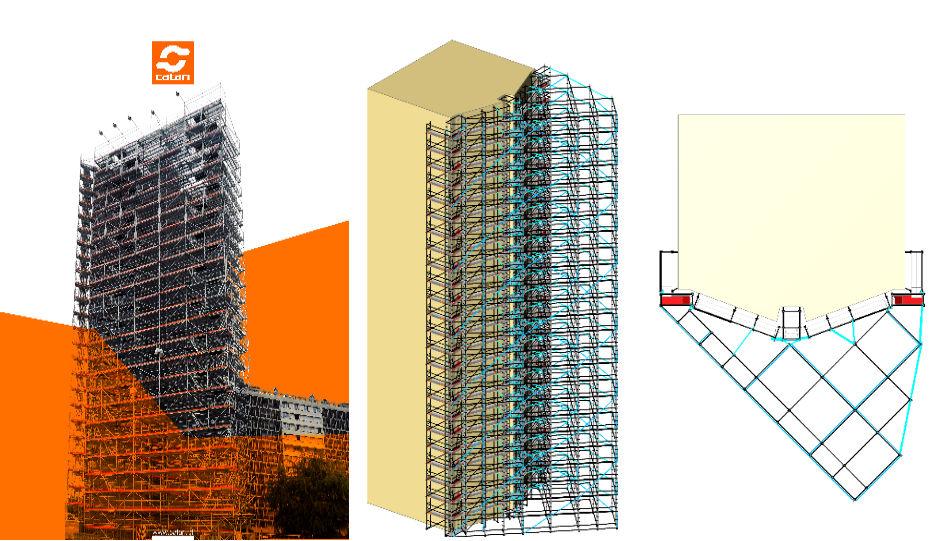 Pon Cad Andamio de Fachada Edificio en Paris