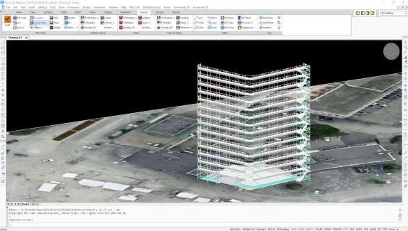 video simulación proyecto andamio fachada edificio
