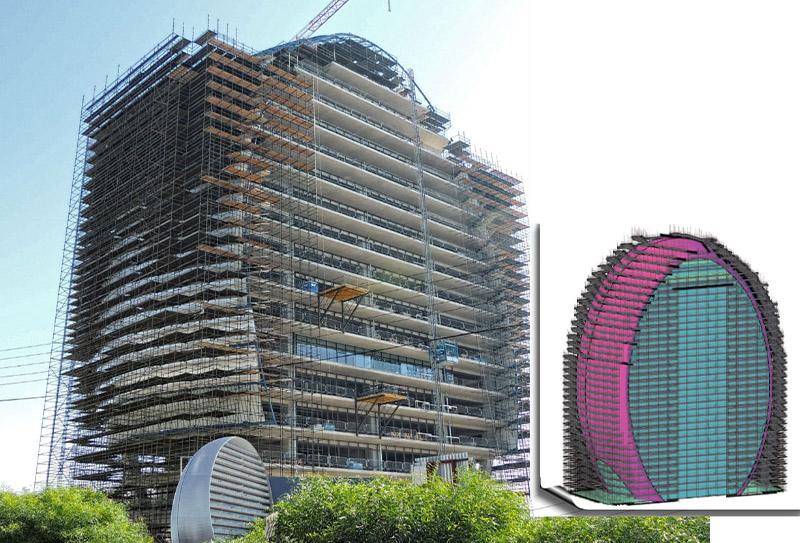 Pon Cad Andamio Fachada Edificio Oval en Chipre