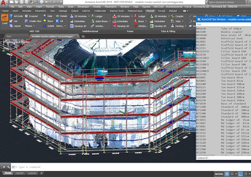 diseño de andamio diseñado con PON CAD software 3d dwg pointcloud