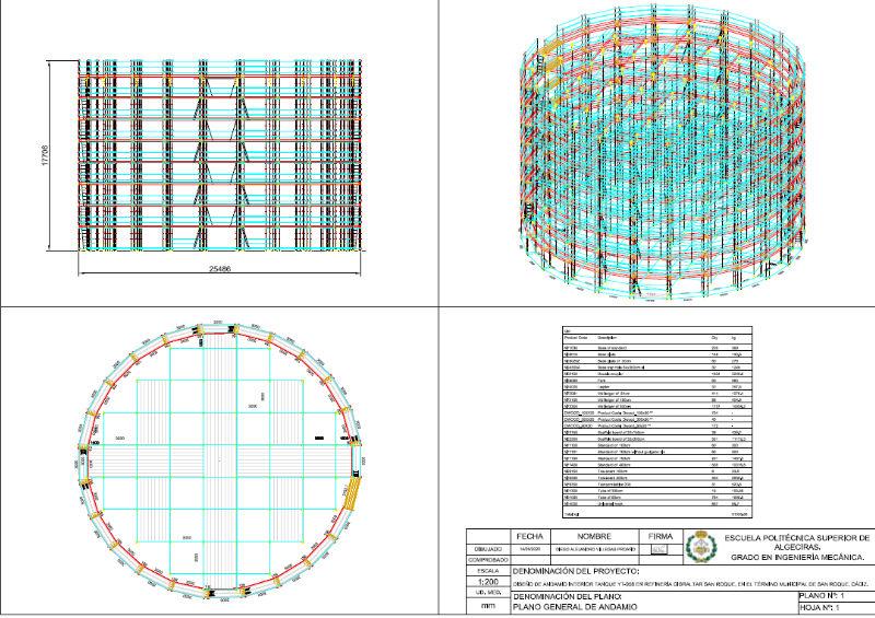 andamio circular industrial con PON CAD software